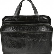 253S black tooled leather computer bag back