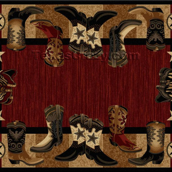 buy red western boots 5 x 8 area rug - texas rugs store