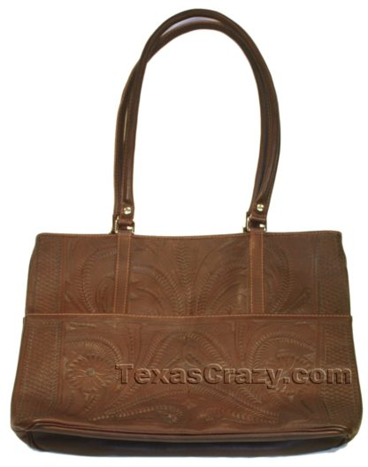 519L brown tooled leather shopping tote