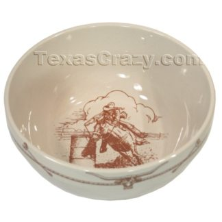 Sky Ranch Decorative Serving Bowl with Rust Accents