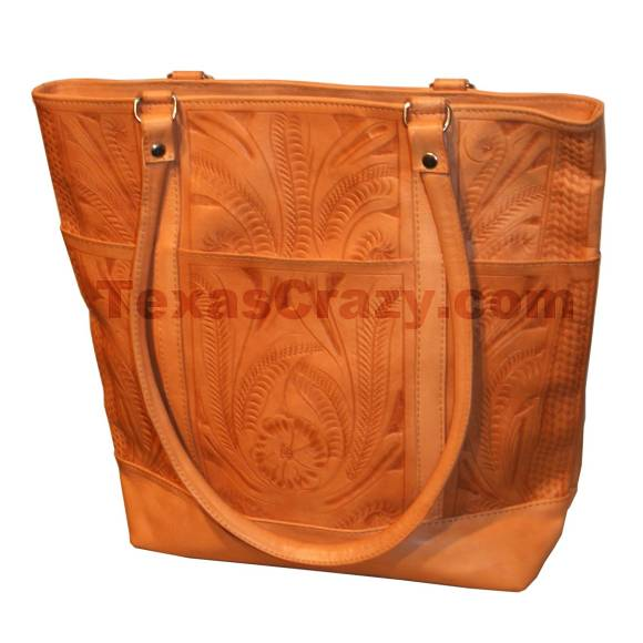 Buy Tooled Leather Shopping Tote - Texas Western Luggage Store dae4f3cd1d543