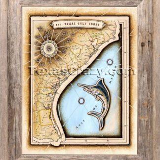 Texas gulf coast map framed