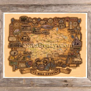 Texas hill country map framed