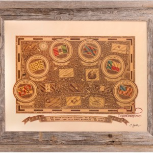 Sixteen Flags over Texas framed in light barnwood