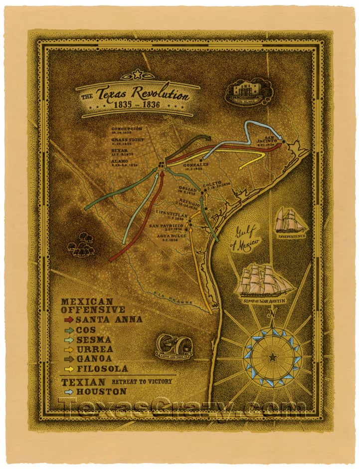 Buy Texas Revolution Map 1835 to 1836 Unique Texas Gifts