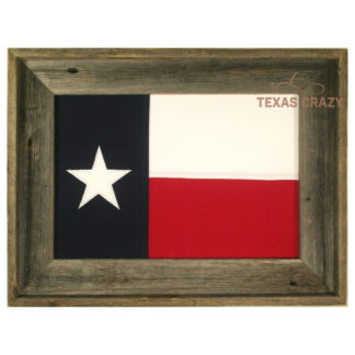 vintage cotton 12 x 18 inch State of Texas flag framed in reclaimed wood